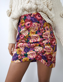 Fashion Flower Print Floral Print Pleated Skirt