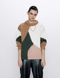 Fashion White + Brown + Pink Contrast Contrast Crew Neck Sweater