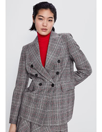 Fashion Gray Plaid Double Breasted Blazer