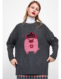 Fashion Gray Piglet Hooded Embroidered Sweater