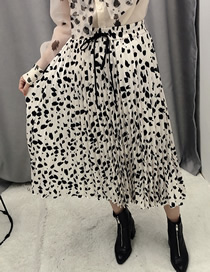 Fashion Off-white Leopard Print Printed Elastic Waist Tie Pleated Skirt