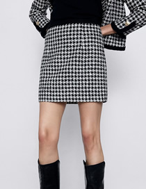 Fashion Houndstooth Houndstooth Mini Skirt