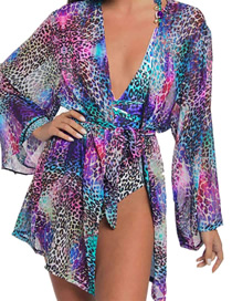 Fashion Purple Leopard Print Tether Cardigan Blouse