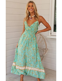 Fashion Green Printed Ruffled V-neck Camisole Dress