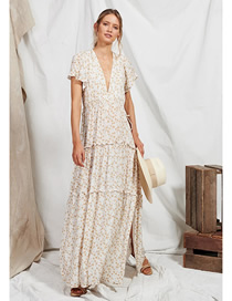 Fashion White Ruffled Floral V-neck Patchwork Split Maxi Dress