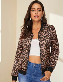 Fashion Black Leopard Print Stand-up Collar Leopard Print Cardigan Baseball Jacket Thin Coat