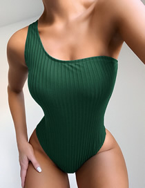 Fashion Green One Shoulder Special Stripe One Piece Swimsuit