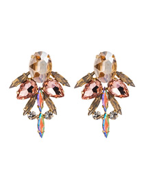 Fashion Gold Dust Multilayer Alloy Earrings With Glass And Diamonds