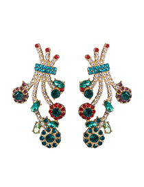 Fashion Blue Color Alloy Diamond Multilayer Floral Geometric Earrings