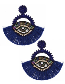 Fashion Royal Blue Resin Rice Pearl Rhinestone Eye Round Tassel Stud Earrings