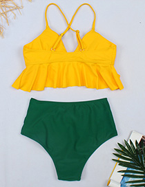 Fashion Yellow Top + Green High Waist Contrasting Ruffled Chest Split Swimsuit