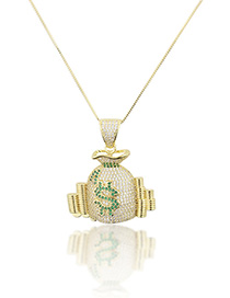 Fashion Gold-plated Gold Plated Money Bag Necklace With Diamonds