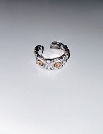 Fashion Rose Gold Alloy Diamond Small Daisy Wide Edge Adjustable Split Ring