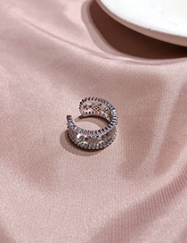Fashion Silver Wide Star Knot Ring With Diamonds