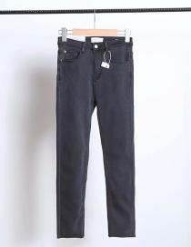 Fashion Gray Stretch Frayed Jeans
