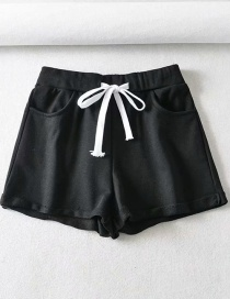 Fashion Black Sports Short Lace-up Rolled Shorts