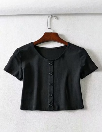 Fashion Black Short-sleeved T-shirt On The Chest