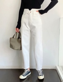 Fashion White Washed Petals High-rise Jeans