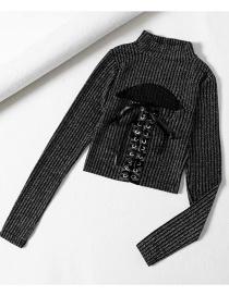 Fashion Black Bright Silk Strappy Drawstring Skinny Sweater