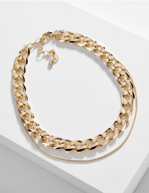 Fashion Golden Snake Chain Double Chain Single Buckle Necklace