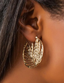 Fashion Golden Hollow Round Leaf Geometric Stud Earrings