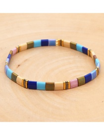 Fashion Color Rice Beads Woven Contrast Metal Bracelet