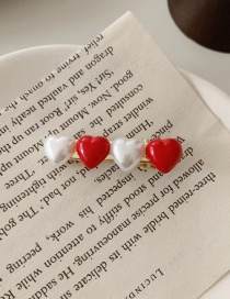 Fashion Red And White Pearl Love Alloy Contrast Hair Clip