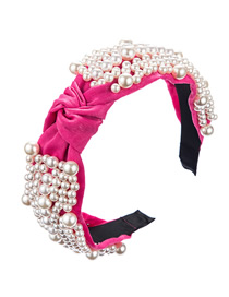 Fashion Rose Red Knotted Pearl Headband