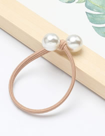 Fashion Cream Color Single-layer Rubber Band Imitation Pearl Hair Rope