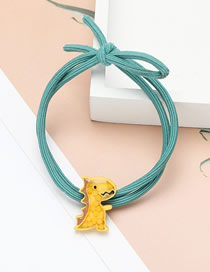 Fashion Yellow Little Dinosaur Elastic Resin Knotted Hair Rope