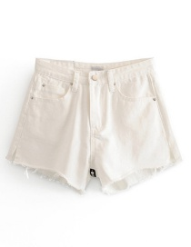Fashion White Washed Raw Zip Back Denim A-line Shorts