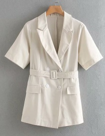 Fashion Off-white Linen Lace Double-breasted Suit