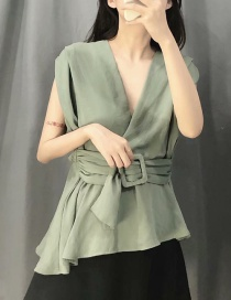 Fashion Green Short Lace Up Shirt With Buckled Belt