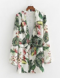 Fashion White Floral Print Small Suit