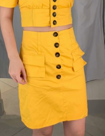 Fashion Yellow Open-necked Single-breasted Short Skirt
