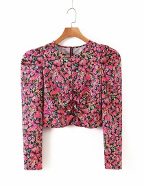 Fashion Red Floral Print Pleated Crew Neck Shirt