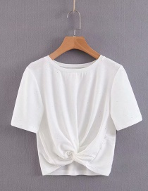 Fashion White Crossover Pleated T-shirt