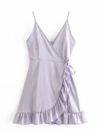 Fashion Purple V-neck Slim-fit Silk Wrap Camisole
