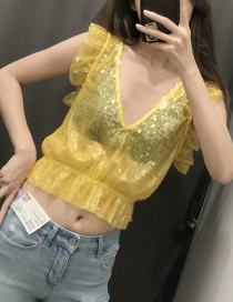 Fashion Yellow V-neck Shirt With Sequins