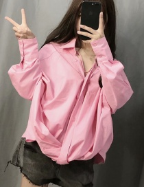 Fashion Pink Breasted V-neck Shirt