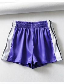 Fashion Purple Striped Panelled Shorts