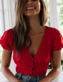 Fashion Red V-neck Single-breasted Shirt