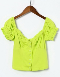 Fashion Green Lace Square Collar Stretch-knit Single-breasted Puff Sleeve Shirt