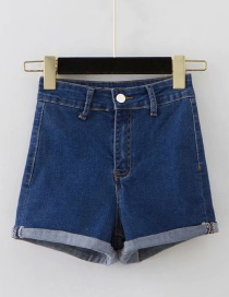 Fashion Navy Washed Curled A-line Shorts
