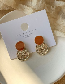 Fashion Golden 925 Silver Pin Irregular Concave Pattern Disc Earrings