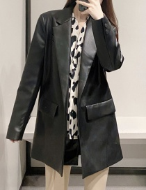 Fashion Black Pu Leather One Button Suit