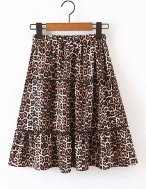 Fashion Leopard Print Printed Ruffle Skirt
