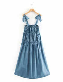 Fashion Blue Pleated Dress With Bow