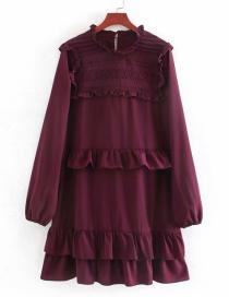 Fashion Jujube Embroidered Pleated Ruffled Dress