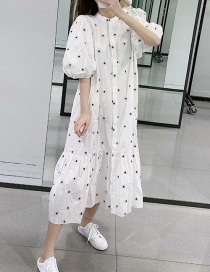 Fashion White Flower Embroidered Single-breasted Dress